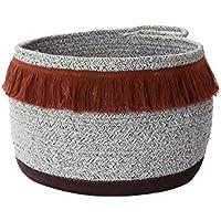 木製のロープを織ったハンドル付き大型保管用バスケットは、丈夫でシンプルで、様々な場面に適しています。