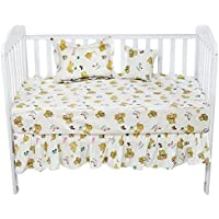 Brandream Soft Fitted Cotton Crib Sheets For Baby Girls Nursery Bedding Cute Bear Printed Crib Bedding Set Toddler Kids Bedding 5-Piece Fitted Sheets Bed Skirt Set For Infant [並行輸入品]