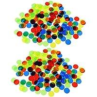 SunniMix 約200個 プラスチック 半透明 ビンゴチップ ポーカーチップ カジノチップ ビンゴゲーム用 アクセサリー
