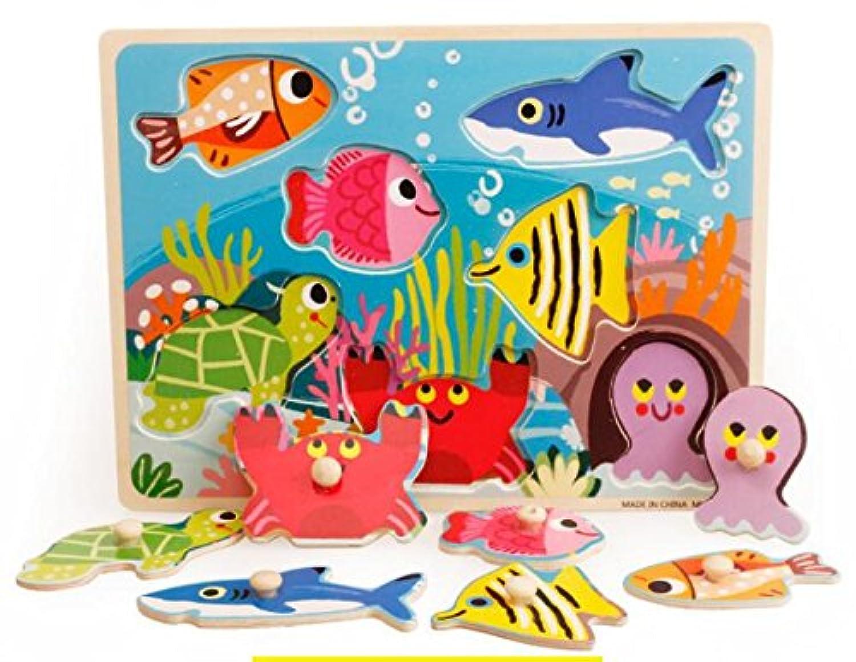 HuaQingPiJu-JP 子供のための素敵な木製の就学前の海洋動物の認知ボード教育パズル