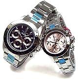 ペアウォッチ ANNE CLARK レディース腕時計 ピンク Don Clark メンズ腕時計 ブラック クロノグラフ 2本セット [並行輸入品]