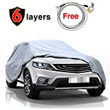 """SUV Car Cover Waterproof All Weather for Automobile, 6 Layers Use Outdoor Indoor Windproof/Snowproof/Dustproof/Scratch Resistant, KAKIT Full Size Breathable Cover Fits up to 180"""" SUV"""