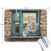 マウスパッド 窓に伏せた猫 ゲーミングマウスパッド 滑り止め 19 X 25 厚い 耐久性に優れ おしゃれ