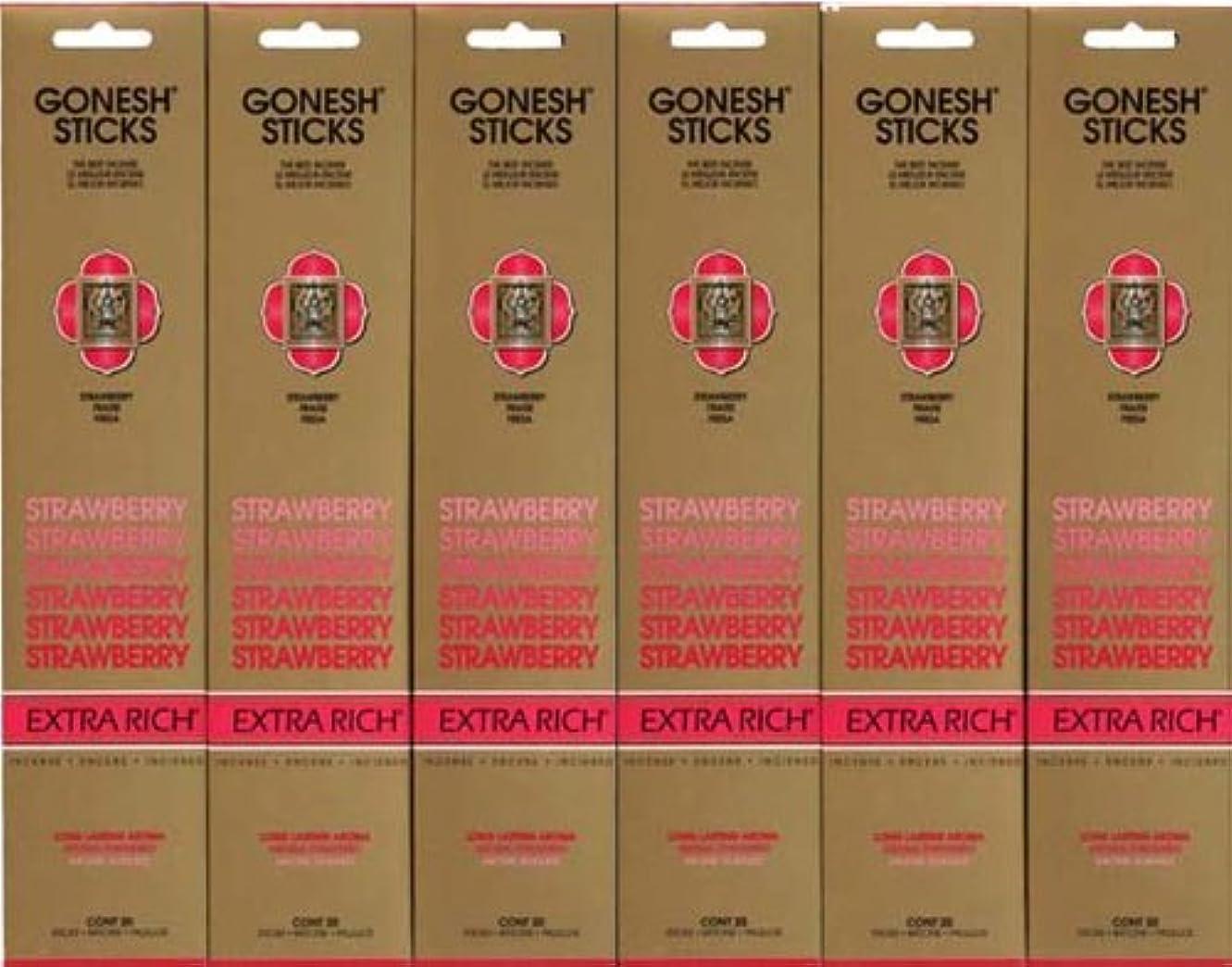 アンカー慢性的あたたかいGONESH STRAWBERRY ストロベリー スティック 20本入り X 6パック (120本)