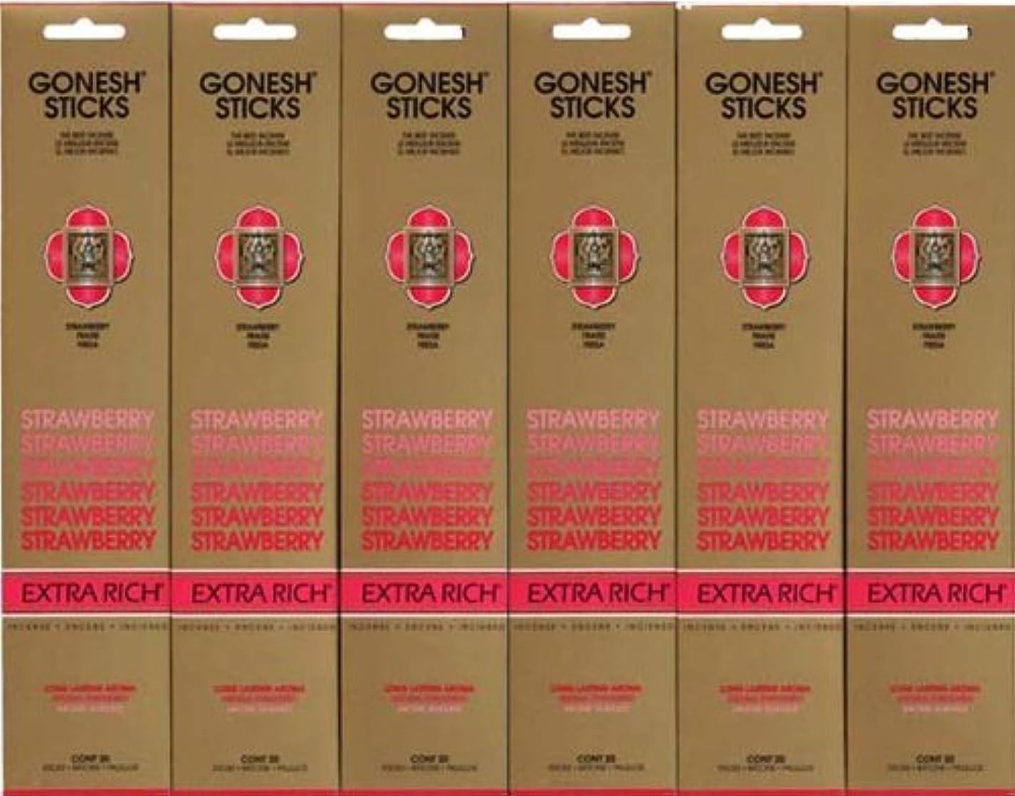 彫刻関係する福祉GONESH STRAWBERRY ストロベリー スティック 20本入り X 6パック (120本)