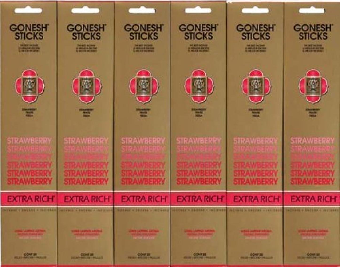 マイクロプロセッサバラ色怠惰GONESH STRAWBERRY ストロベリー スティック 20本入り X 6パック (120本)