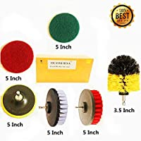 6 Piece Drill Brush Attachments: 5 inch Drill Brushes & Scouring Pads & Suction Cup - Clean Tough Dirt - for Marble/Granite Tile,Grout,Rim,Kitchen Sink,Carpet,Coated Doors,Fiberglass Tubs [並行輸入品]