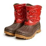 [防水 防寒]7868 Red/Brown 26cm(24.5cm-25cm相当) スノーブーツ ウィンターブーツ メンズブーツ レインブーツ レインシューズ スノーシューズ 防滑 靴