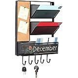 Wall Mounted Mesh Metal Hanging Mail Sorter Storage Basket w/Chalkboard Cork Board & Key Hooks Black