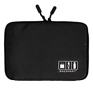 (バッグスマート)BAGSMART PC周辺小物用収納ポーチ ゴム・バンド縫い付け 1#ブラック