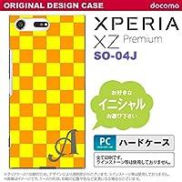 SO04J スマホケース Xperia XZ Premium ケース エクスペリア XZ プレミアム イニシャル スクエア 黄×オレンジ nk-so04j-767ini Q