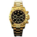 [t161]30m防水仕様 フルステンレス クロノグラフ自動巻き腕時計 ゴールドcolor