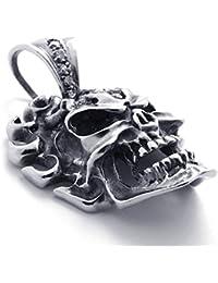 [テメゴ ジュエリー]TEMEGO Jewelry メンズキュービックジルコニアステンレススチールヴィンテージペンダントゴシックスカルネックレス、ブラックシルバー[インポート]