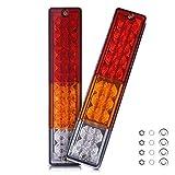 MICTUNING LED テールランプ 20個LED スモール ブレーキ ウインカー バック ライト 汎用 多用途(2個セット) 二年保証