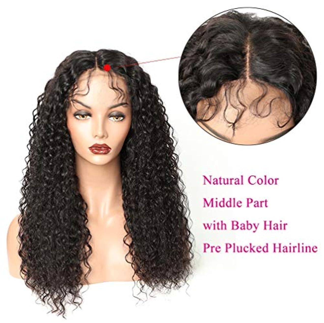石化するブリード共和党女性レース前頭かつら150%密度ブラジルカーリーバージン人間の髪カーリーウェーブグルーレスレースかつらブラック24インチ
