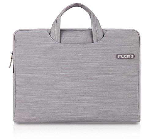 PLEMO デニム 生地 PCスリーブ15-15.6インチ ブリーフケース PCバッグ (グレー)