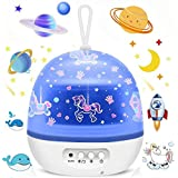 Star Night Lights Projector for Kids, Carousel Ocean Space Star 4 Sets of Film Night Lighting Lamp 360° Rotating Projector Ki