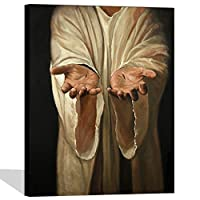 """Visualアート装飾Christ Religionイエスの手画像が壁装飾傷跡のペイントキャンバス印刷ギャラリーWrappedホーム部屋インテリアアートワーク 24""""x32"""" ブラック VA180516-5"""
