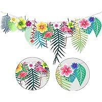 Funpa ガーランド ハワイ 夏 熱帯植物 2点セット 葉 フラミンゴ テーマパーティー 結婚式 誕生日 デコレーション 壁掛け 紙 3m
