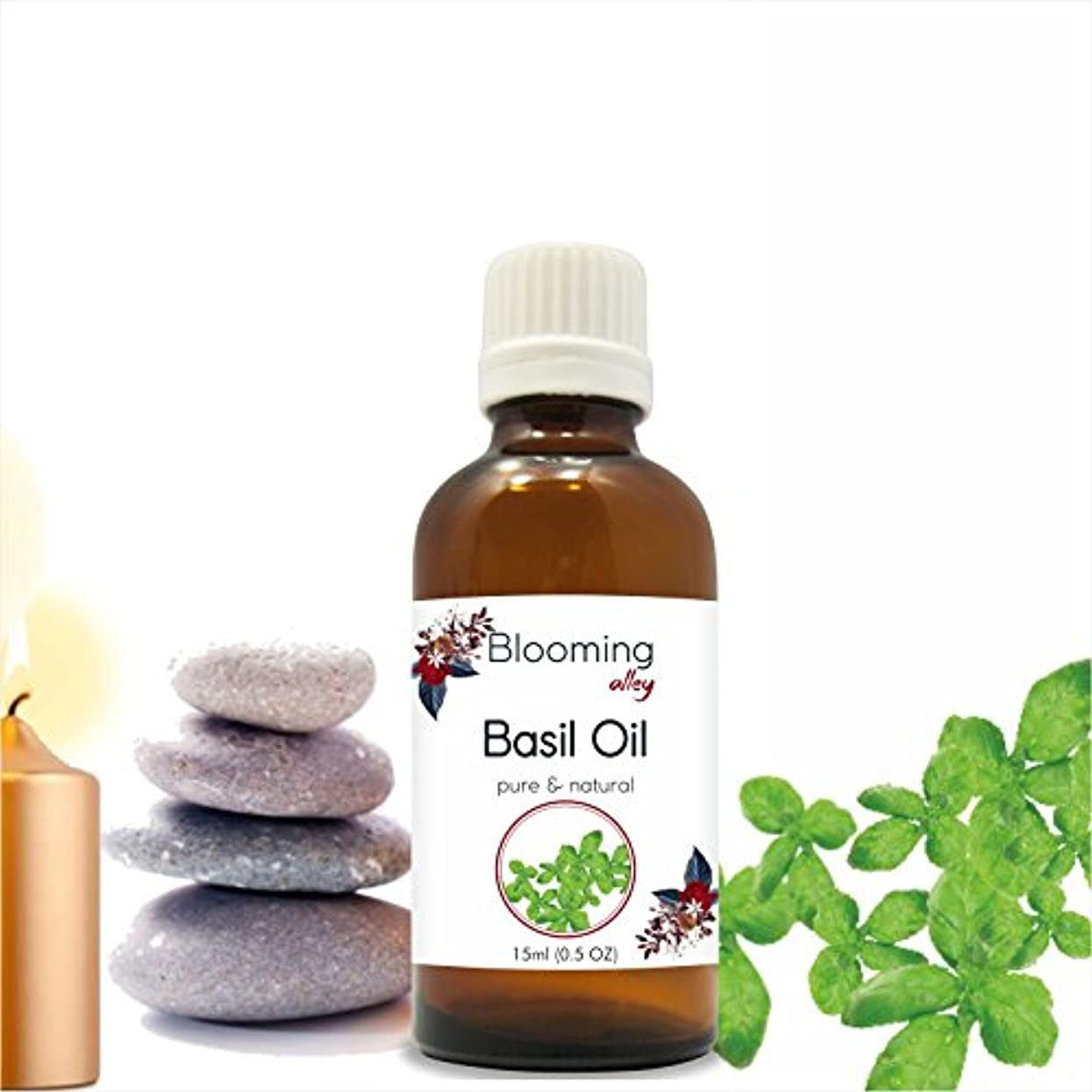 状況ドロップ一杯Basil Oil (Ocimum Basilicium) Essential Oil 15 ml or .50 Fl Oz by Blooming Alley