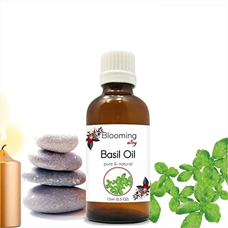 Basil Oil (Ocimum Basilicium) Essential Oil 15 ml or .50 Fl Oz by Blooming Alley