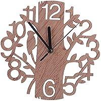 木製時計 掛け時計 壁時計 ウォールクロック 音無し 電池式 小型 かわいい おしゃれ 鳥と木の組合 オフィス 寝室 プレゼント