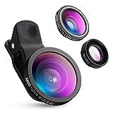 AMIR スマホ用カメラレンズ 3点セット 広角 マクロ 魚眼レンズ  for iPhone Android対応 自撮りレンズ