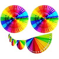 """Yani's Gifts Rainbow Tissue Paper Fan Bundle, One 9.5 ft Rainbow Banner Streamer, Two 18"""" Honeycomb Rainbow Party Decorations for LGBT Pride, Mexican Party Decorations, Gay Pride, Guirnaldas de Papel"""