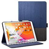 ESR iPad 10.2 ケース 第7世代 2019モデル専用 オックスフォード生地 手帳型[オートスリープ ウェイク][ペンシルホルダー付き][ブックカバーデザイン][角度調節可能な鑑賞スタンド]アーバンプレミアム 二つ折りスタンド iPad 10.2インチ2019専用カバー(灰紺色)