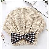Swiftgood ヘアタオルラップ、ボタン付きヘアドライヤータオル、マイクロファイバーヘアタオル、乾いた髪の帽子、バスヘアキャップ