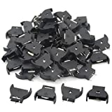 WMYCONGCONG 50 PCS CR2032 Button Cell Battery Sockets Holder Case Plastic Shell Type, Black