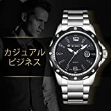 腕時計、メンズ腕時計、カジュアル コマース ブラックステンレススチールウォッチ 日付表示 スポーツ防水クォーツドレス時計