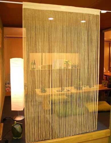 日本製 花粉・ほこりキャッチ コードスクリーン ひものれん ベージュ 幅100cm×丈170cm