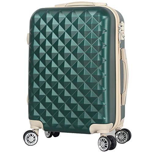 BASILO-012 機内持込 キャリーバック スーツケース キャリーケース 人気 かわいい Sサイズ 1~4日用 29L TSA キルト風 (モスグリーン, S)