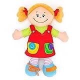 Dewel 赤ちゃん 子供 知育玩具 布のおもちゃ ぬいぐるみ 人形 服を着る練習 音付き 面白い  (女の子)