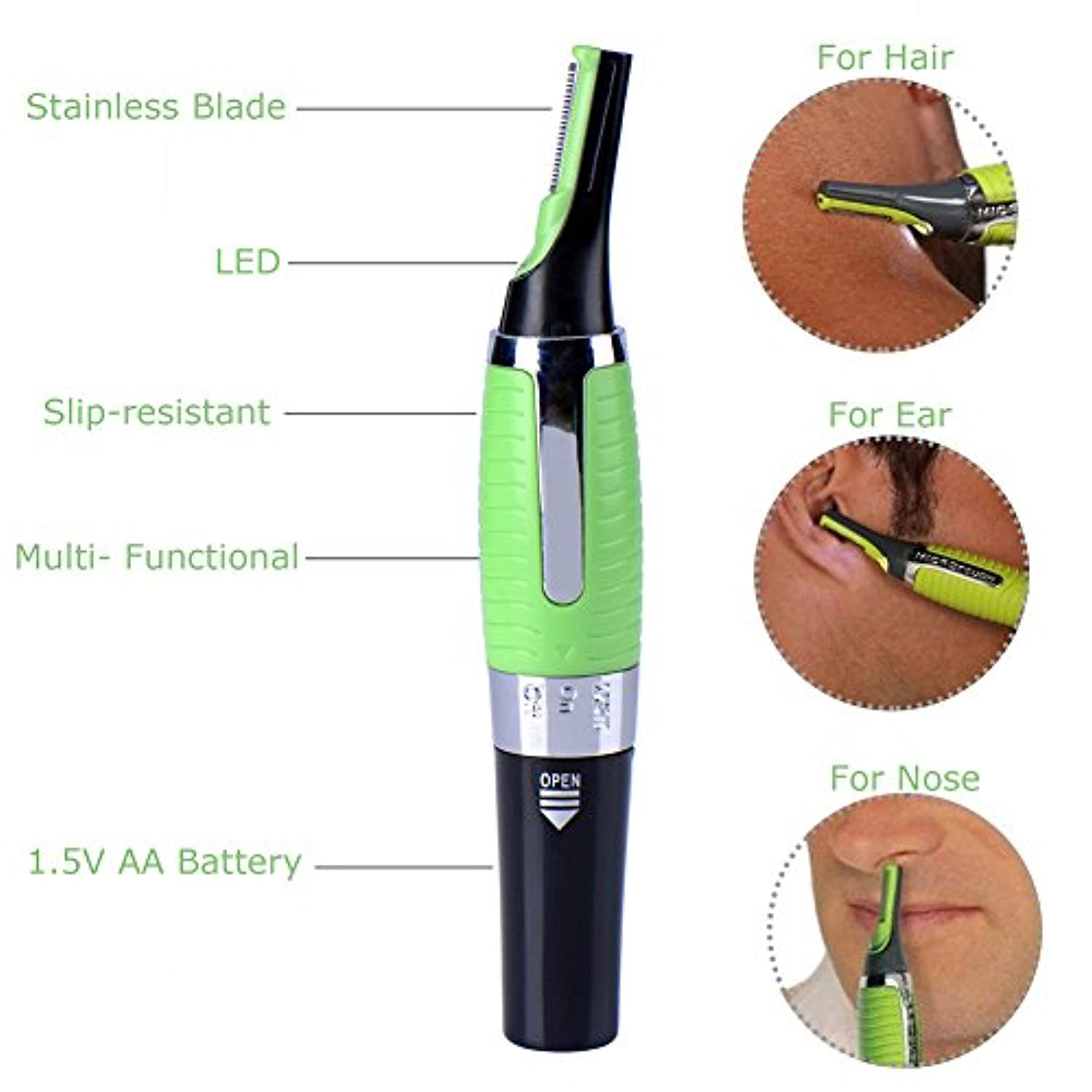 1 PC nose hair trimmer ear beard clipper shaver mens electric t removal machine face Cleaning hair cutter tools...
