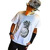DUSTSTROKE ( 選べる 3 カラー ) パイナップル 柄 アロハ トロピカル S M L メンズ 半袖 Tシャツ おしゃれ ストリート カジュアル きれいめ ダンス 丸首 (ホワイト M)