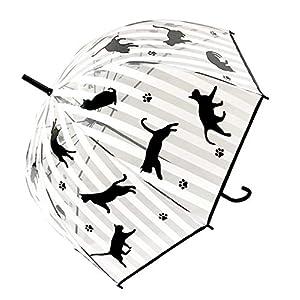 大西賢製販 ビニール傘 ドーム型 ストライプ 親骨の長さ:58cm 黒猫 APUM-1304