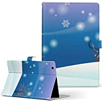 igcase d-01J dtab Compact Huawei ファーウェイ タブレット 手帳型 タブレットケース タブレットカバー カバー レザー ケース 手帳タイプ フリップ ダイアリー 二つ折り 直接貼り付けタイプ 001476 その他 雪 冬