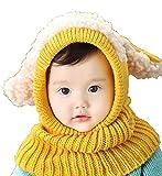 【Ludus Felix】選べるカラー 5色 ウサギちゃん 子羊 ニット帽 ニット帽子 ベビー キッズ 赤ちゃん 子供 用 ケープ 一体型 マフラー ネックウォーマー フード  【ボア部分がふわふわで気持ちいい!】【頭&首まであたたか】 (イエロー)