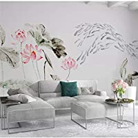 Bzbhart カスタム壁紙新しい中国の禅インク蓮テレビの背景の壁カスタム大壁画緑の壁紙-450cmx300cm