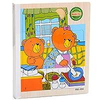MORA 木製パズル 玩具 知育 学習おもちゃ 物語の本 6面 親子おもちゃ 幼児 子供 教育 教材 木のおもちゃ パズル 木製 視覚 認識 プレゼント