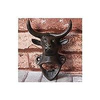 SHENGSHIHUIZHONG レトロクリエイティブ鋳鉄ビールの栓抜き、レストランレストランバーオープナー、壁掛けビールドライバー シンプルな雰囲気 (Color : Bull head)