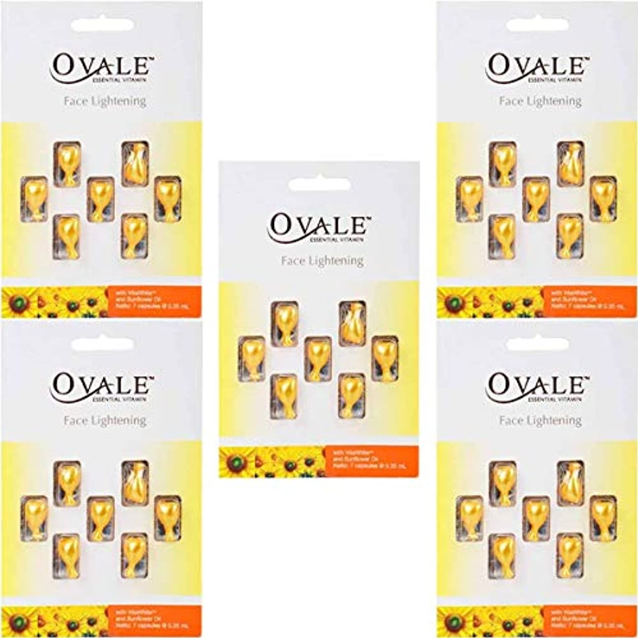 なめらかバターカードOvale オーバル フェイシャル美容液 essential vitamin エッセンシャルビタミン 7粒入シート×5枚セット サンフラワー [海外直送品]