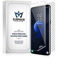 EURPMASK Galaxy S9 plus 用全面保護フィルム 貼り直し可能「ケースに干渉せず+エッジ部分まで保護できる」高透過率 スムースタッチ 耐久性 撥油性 指紋防止 気泡ゼロ【3枚付き、液晶面フィルム2枚+背面保護フィルム1枚】「品質保証」 (S9 plus)