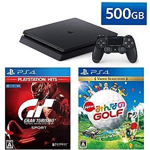 PlayStation 4 + グランツーリスモSPORT + New みんなのGOLF セット (ジェット・ブラック) (CUH-2200AB01)