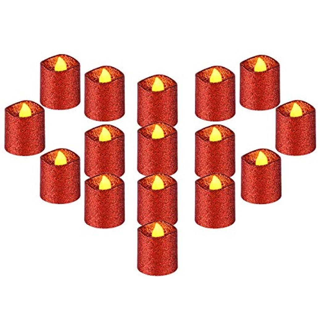 グラス絵アロングYEHTEH グリッター フレームレス LED 灯明 キャンドル D1.5XH1.6インチ 電池式 100時間以上対応 16個パック リアルな揺らめくウォームイエローフレーム 波状エッジ レッド