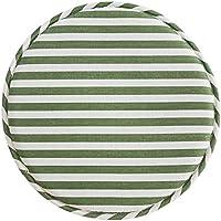 SANQNEKO おしゃれ 北欧 チェアパッド 綿麻 座布団 クッション 丸 低反発 縞柄 椅子用 円形 滑り止め 洗える 緑