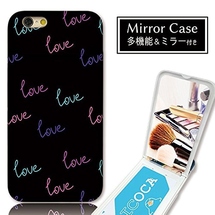 一口お誕生日消化chatte noir iPhone8 ケース iPhone8 ケース ミラーケース 鏡付き ミラー付き カード収納 おしゃれ Love ネオン ロゴ 英語 ガーリー B