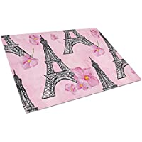 Caroline's Treasures BB7511LCB Watercolour Pink Flowers and Eiffel Tower Chopping Board, Large, Multicolor